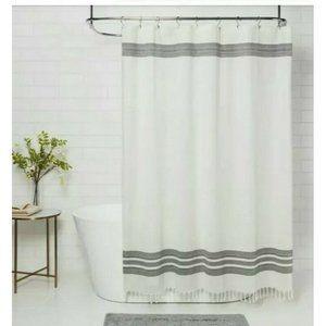 Threshold Cream Black Stripe Cotton Shower Curtain